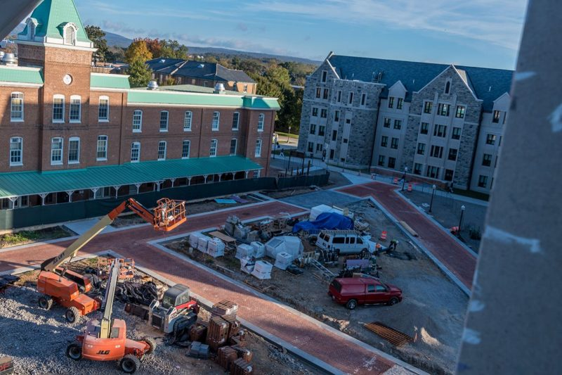 "Maroon brick will form the largest ""VT"" on campus along the sidewalks leading to Alumni Mall."
