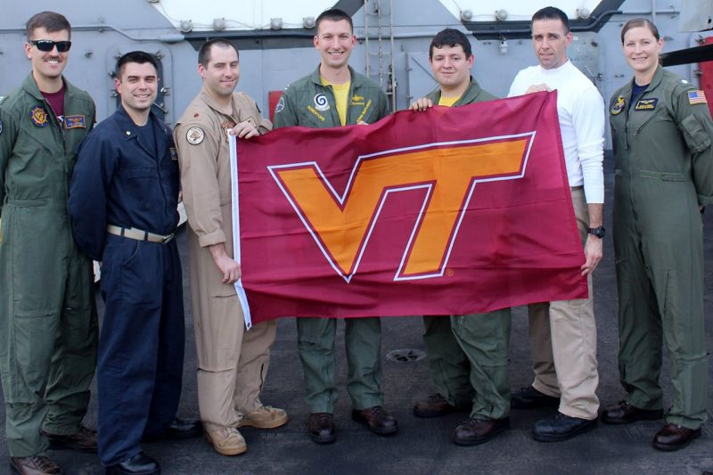 Seven Corps alumni deployed on the USS Dwight D. Eisenhower represent the Hokie Nation.