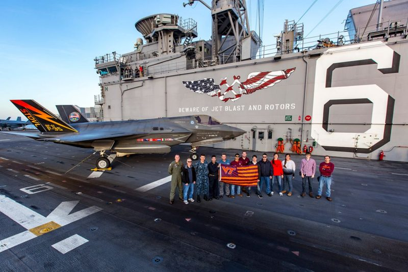Virginia Tech alumni on board the USS America during the third sea trials for F-35B.