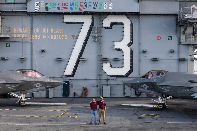 Justin Marut '14, at left, and Ryan Blankenship '14 aboard the USS George Washington.