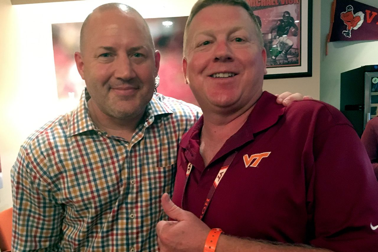 From left, Virginia Tech men's basketball coach Buzz Williams and J. Pearson.