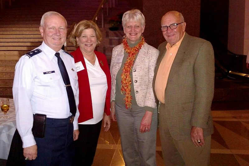 Don Sowder '59 and wife, Mary, at right, meet Maj. Gen. Randal Fullhart and wife, Kathy, at left.