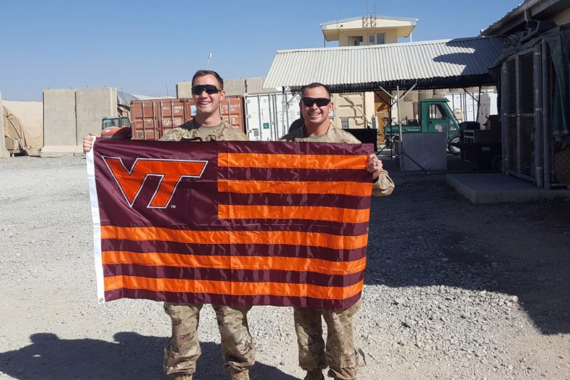 Lt. Luke Forand '15 ran into Maj. Erikson McCleary '06 at Camp Dahlke, Afghanistan.