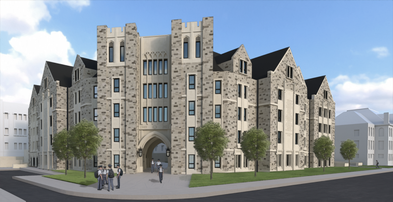A drawing of the new Corps of Cadets residence hall, as seen from Kent Street.