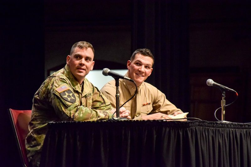 Army Capt. Thomas Lenz '08, at left, and Marine Lt. Austin Dickey '15 spoke to cadets during the spring Gunfighter Panel on Feb. 16.