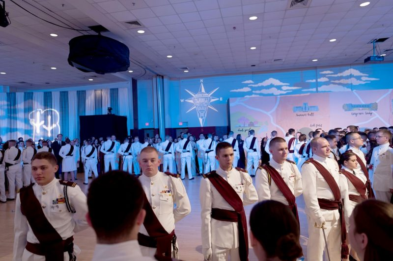 "Junior cadets formed a ""17"" on the dance floor at this year's Ring Dance on March 24."