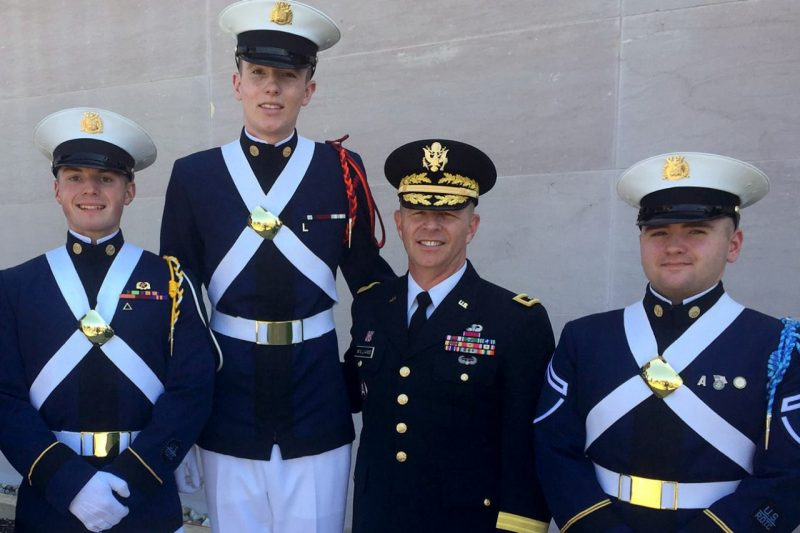 Cadets are pictured with Adjutant General for the Commonwealth of Virginia Maj. Gen. Tim Williams '85, second from right.