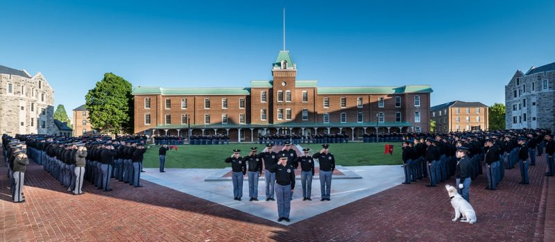 "The regiment conducted its final formation of the spring semester on the new ""VT"" sidewalk in front of Lane Hall."