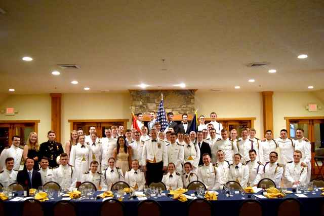 Midshipmen, unit officers, and local veterans attended the annual Senior Dining-In on April 21.