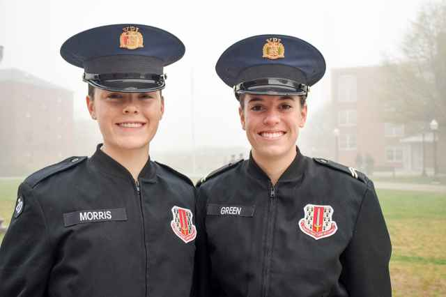 Cadets Mackenzie Morris '18, at left, and Ruth Green '19.