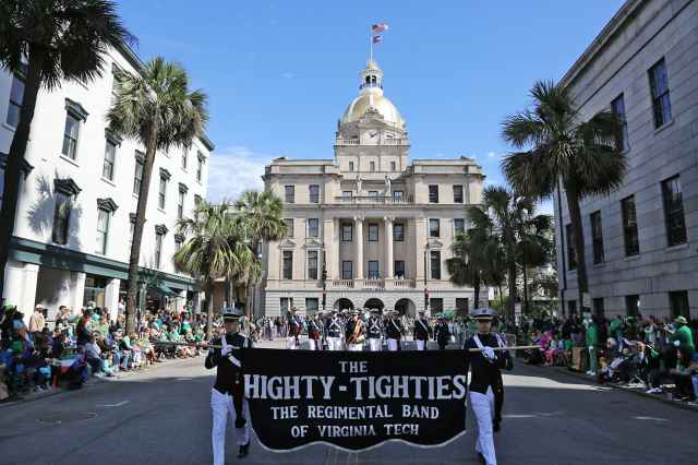 The Highty-Tighties march through downtown Blacksburg during the annual Homecoming Parade.