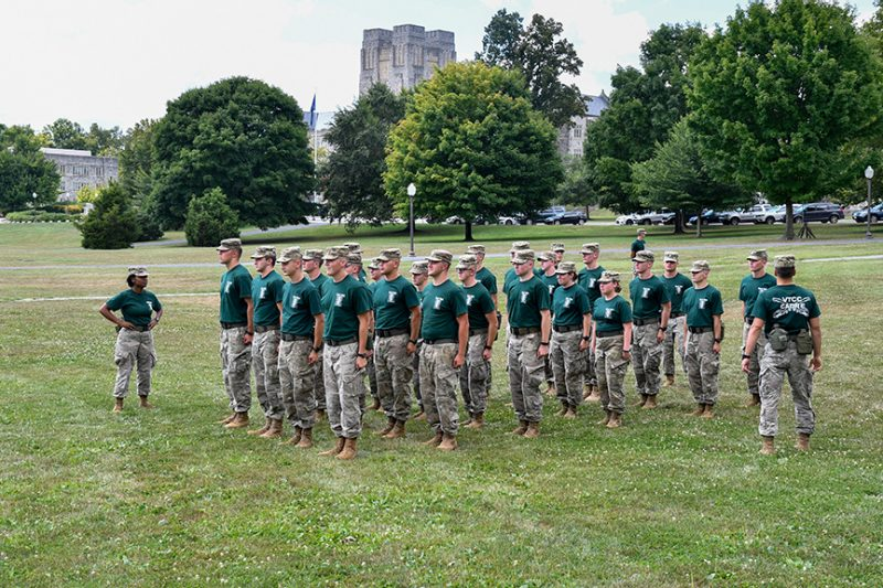 A group of cadets practices drill on the Drillfield.